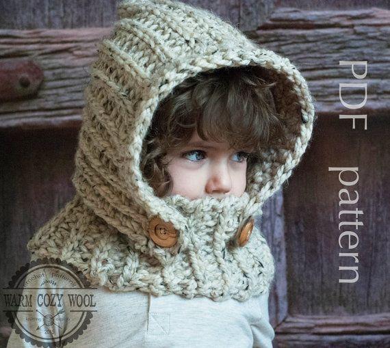 CROCHET PATTERN hood, Hooded Cowl, Crochet baby, toddler, kids ...