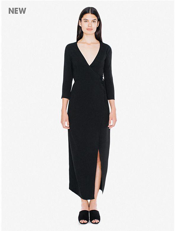 Crepe Julliard Wrap Dress Dresses American Apparel