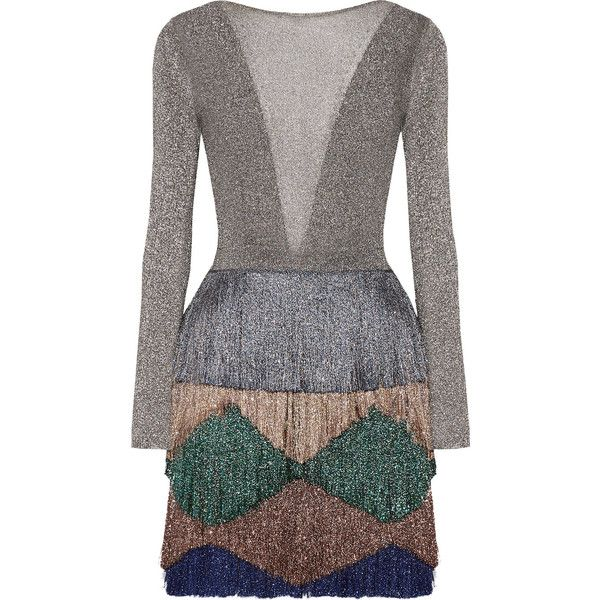 Designer Clothes, Shoes & Bags for Women | SSENSE. Missoni Fringed metallic  knitted mini dress ...