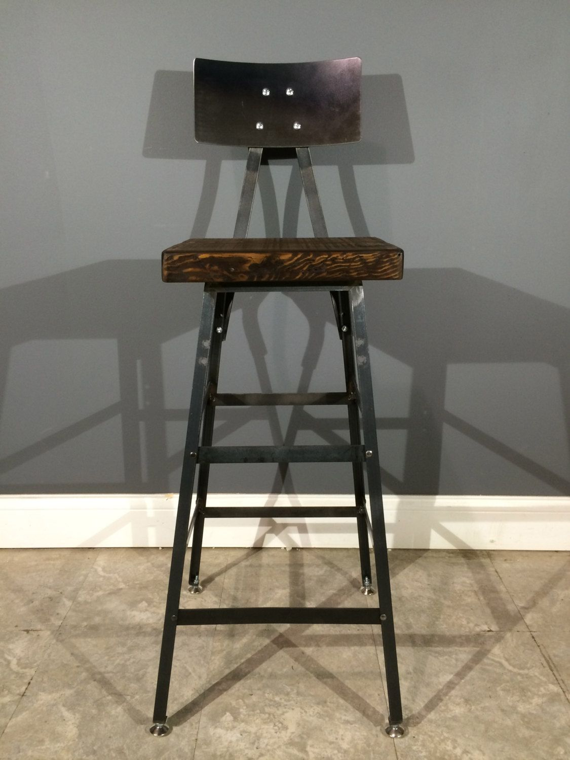 Industrial Urban Bar Stool W/ Back   Rustic Chair Made From Reclaimed Barn  Wood   Antique Oak Finish   Fast Shipping!