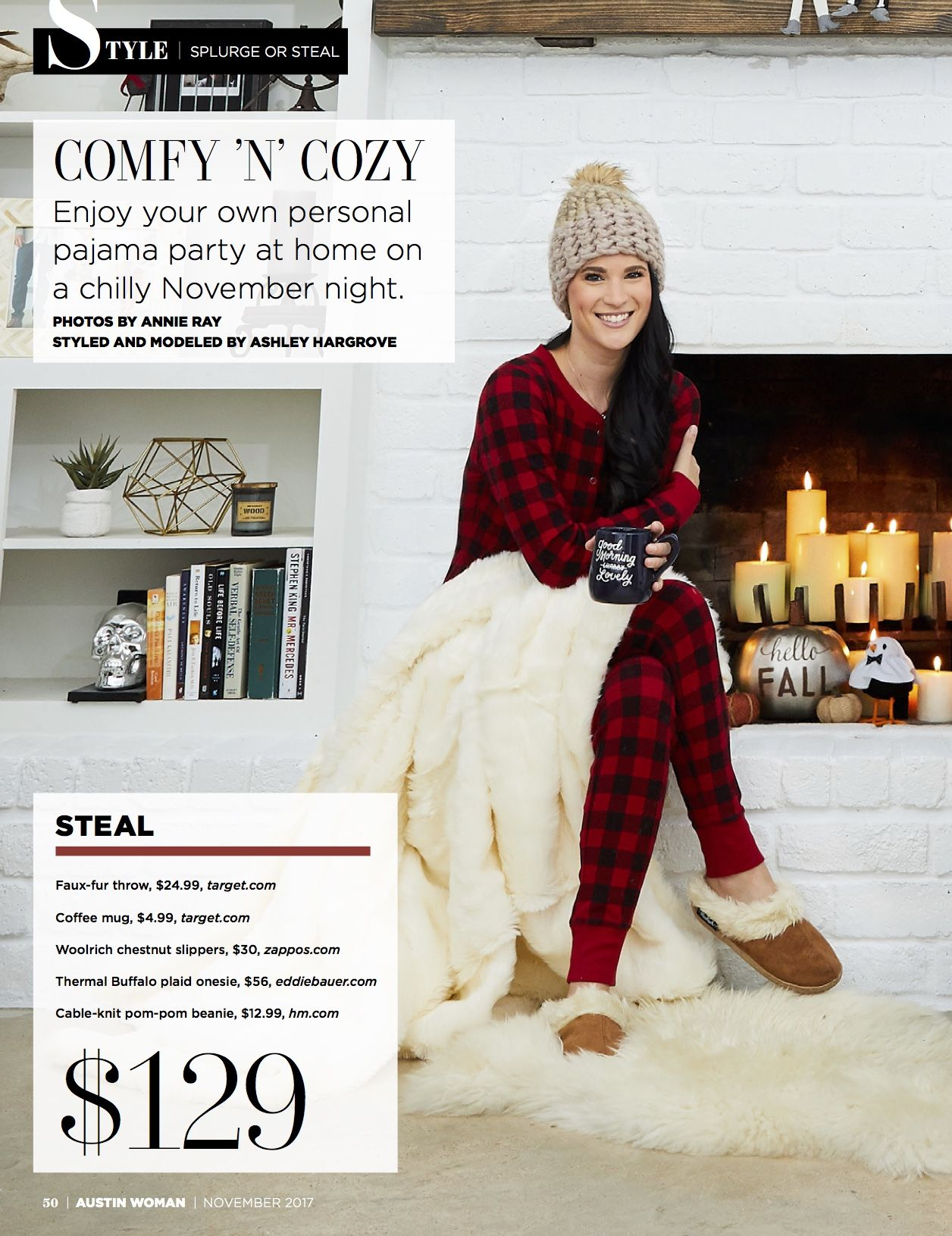 DTKAustin shares her recent Splurge or Steal Column about plaid pajamas in  Austin Woman Magazine just in time for winter!  d347c6269