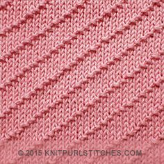 Diagonal Textured knitting pattern. Using knit and purl stitches. Very Easy