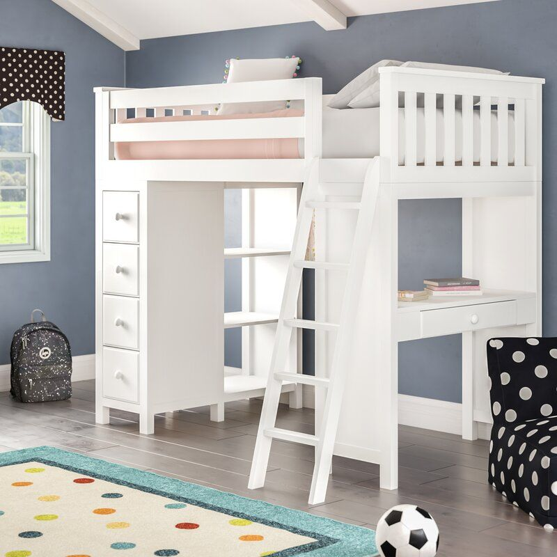 Ayres Twin Loft Bed With Drawers And Shelves Twin Loft Bed Bed