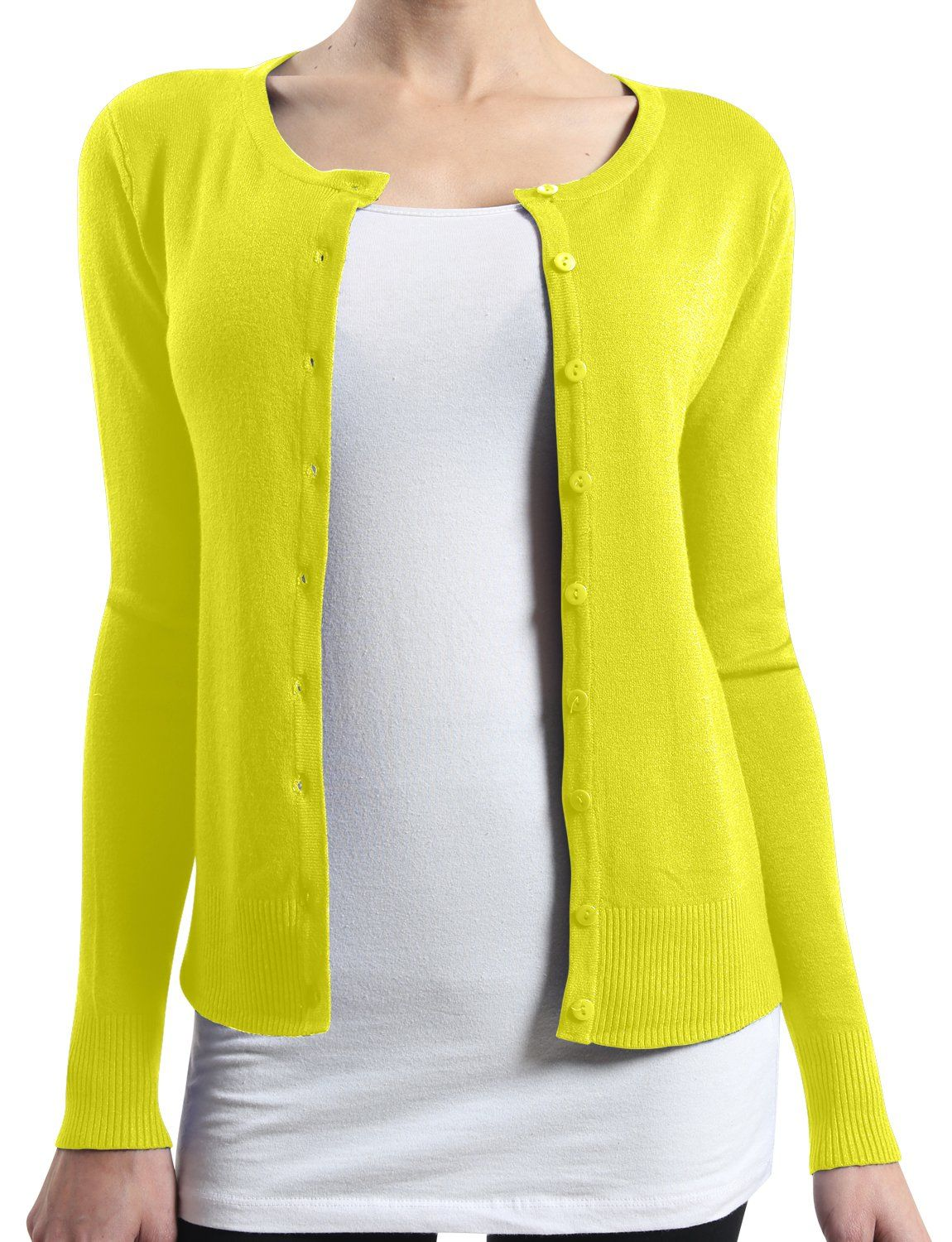 LE3NO Womens Basic Round Neck Fine Knit Cardigan at Amazon Women's ...