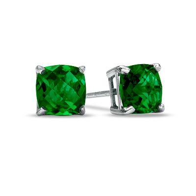 934d3ced6 Cushion-Cut Emerald Studs   Juicy Green   Emerald earrings, Emerald ...