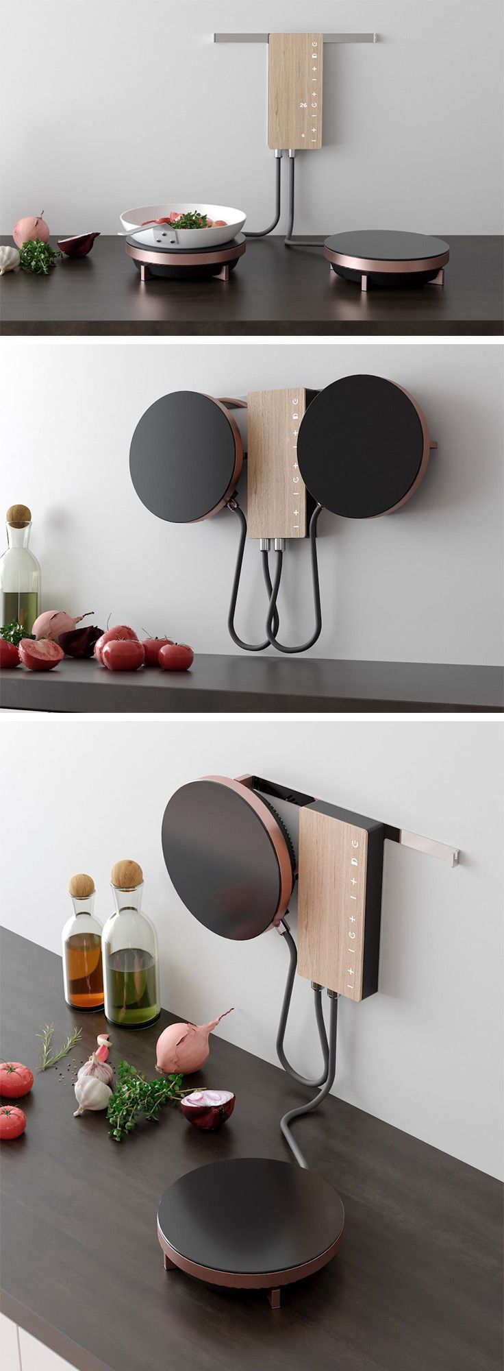 Ordine is an innovative cooking solution designed for the modern user. Optimized for small spaces, the design eliminates the need for a bulky traditional stove, clearing the way for more cabinet and counter space. The design features two hob units that are mounted on a central power hub on the wall. Elevated neatly out of the way, the user must simply grab one or both hobs off the wall and set the desired temperature to activate. – Rookie Dragon #tinyhouse