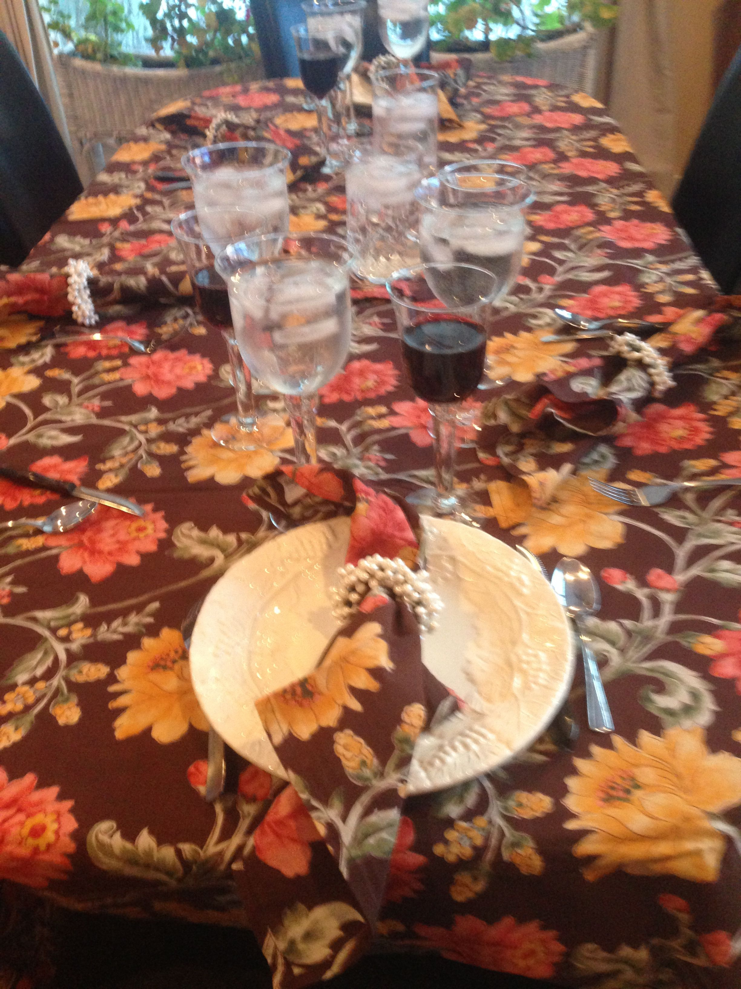 Thanksgiving Table April Cornell Brown Gold And Orange