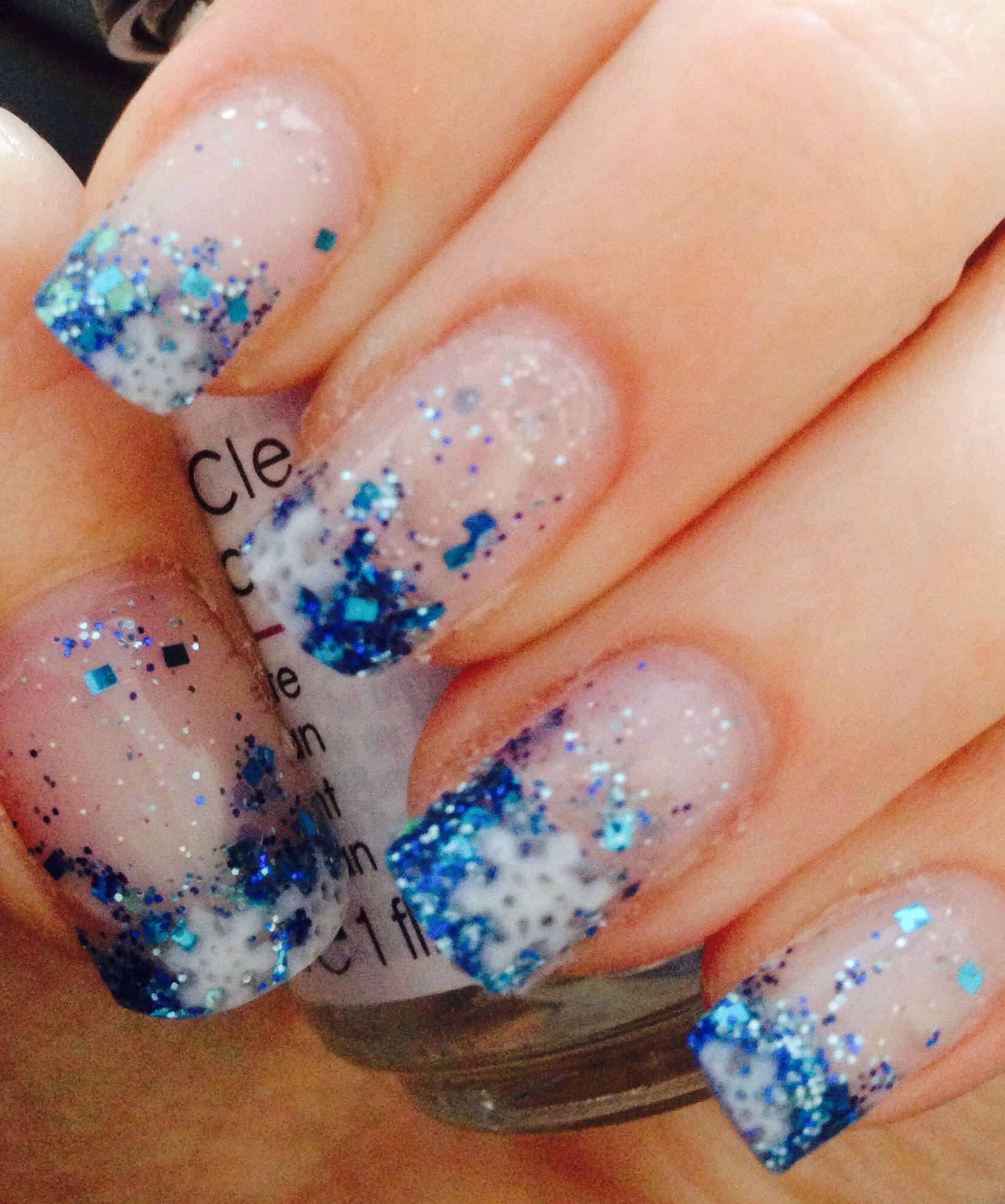 Frozen nails. Elsa. Jack Frost nails. Acrylic glitter nails | nail ...