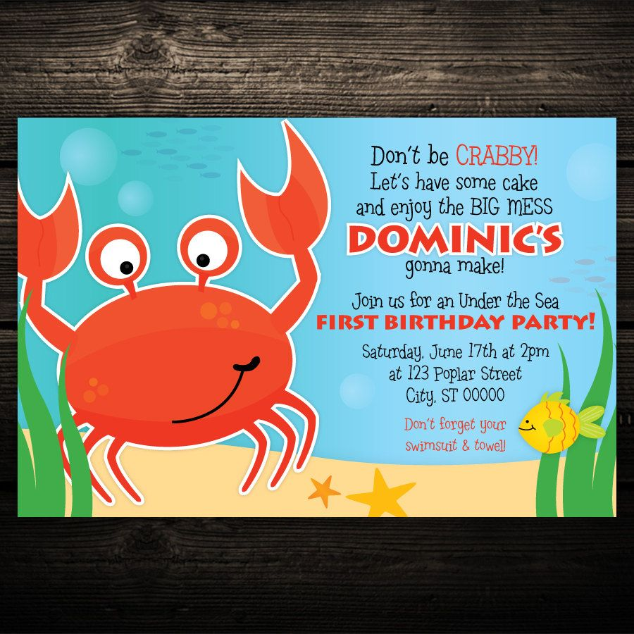 Under The Sea Birthday Invitations Australia | Mai\'s 4th Birthday ...
