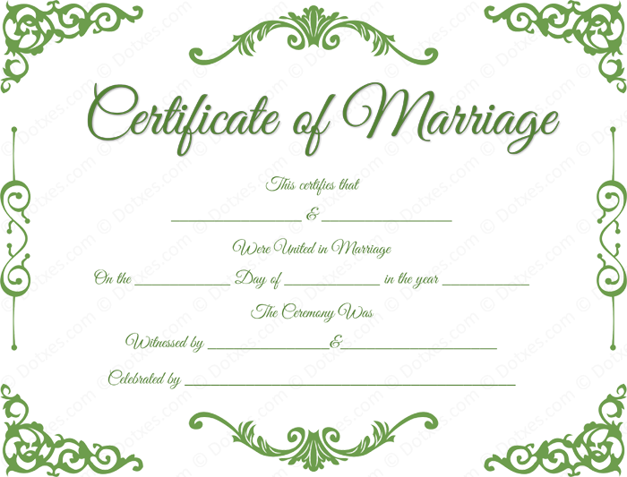 Traditional Corner Marriage Certificate Format  Printable