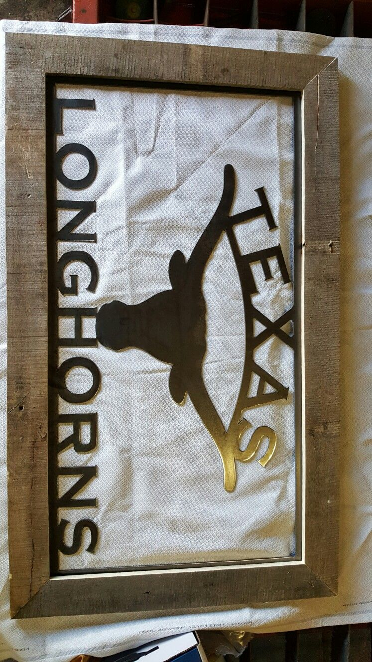 Texas Longhorns with rustic wooden frame Etsy diy, Frame