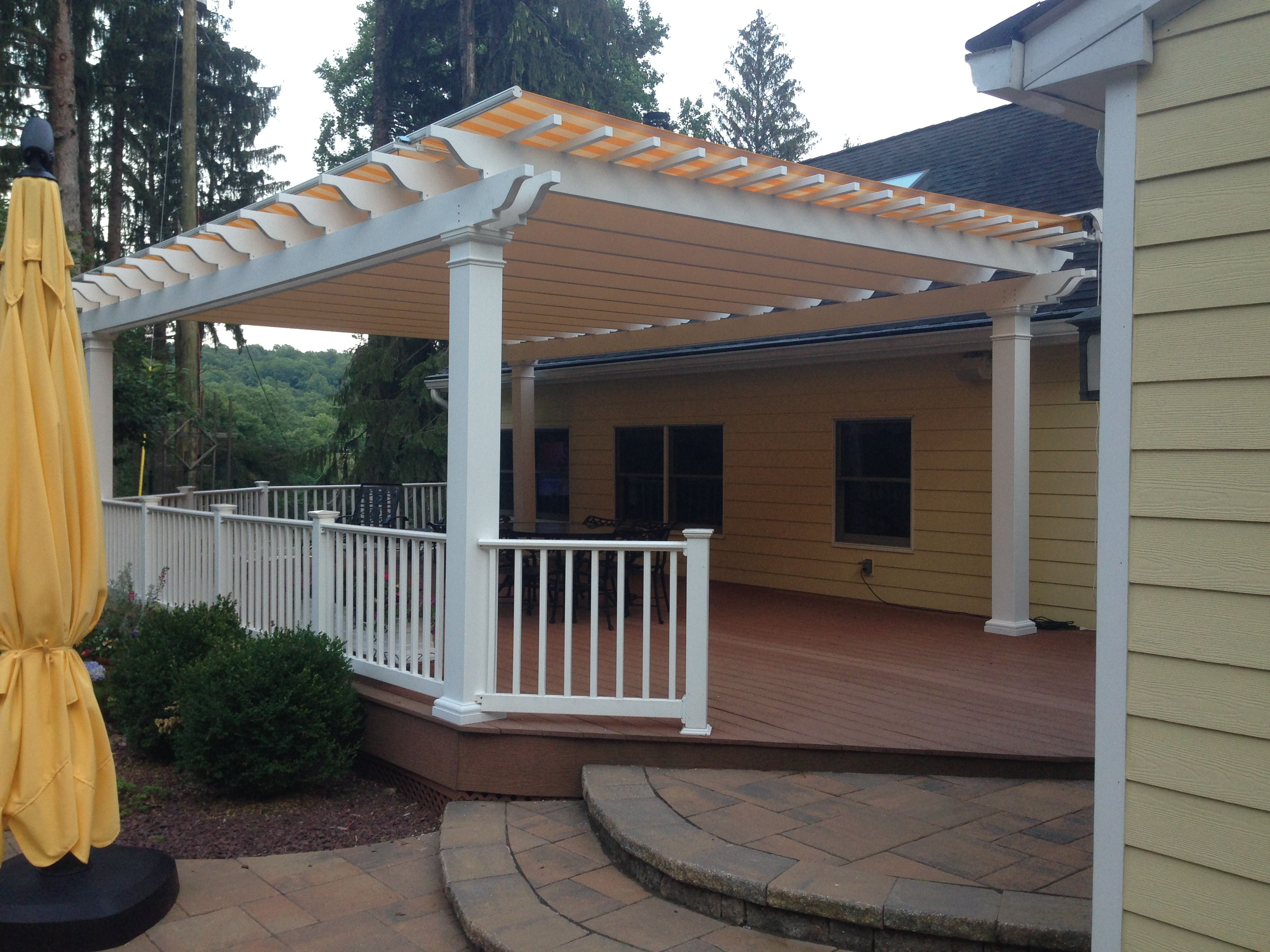 Fiberglass Pergola With Retractable Shade Canopy New