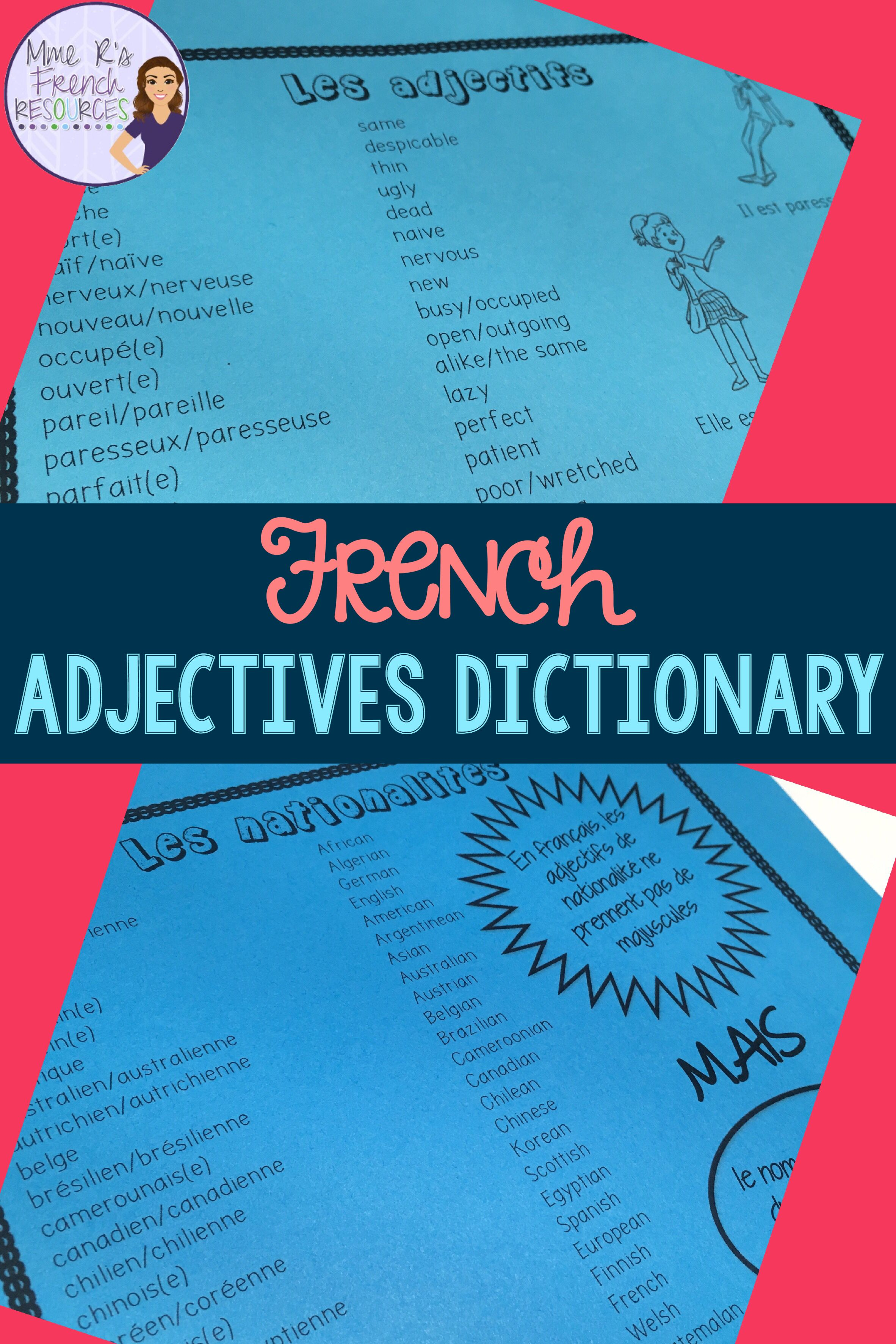 French Adjectives List With English Translations Mon Dictionnaire Des Adjectifs