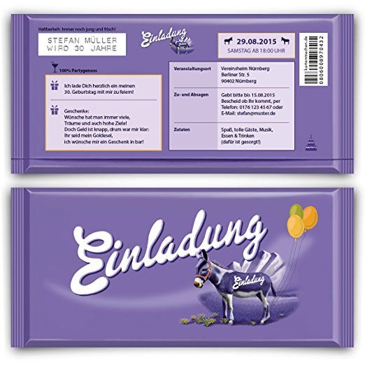 Einladungskarten Zum Geburtstag (50 Stück) Lila Esel Schokolade Motiv