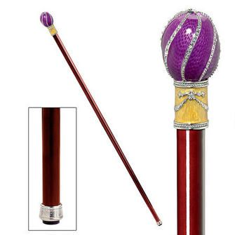 $70 The Imperial Collection: Violet Viper Faberge-Style Premium Enameled Walking Stick - this classic walking stick is perfectly practical and quite stylish. The ornate head is cast before brilliant enamel and sparkling faux gems are placed in the jeweler-style, museum-quality ornamentation. It's artisan-crafted, polished hardwood shaft is carefully lacquered with a protective clear coat. Expertly fitted with a rubber ferrule tip, Not recommended for orthopedic use.