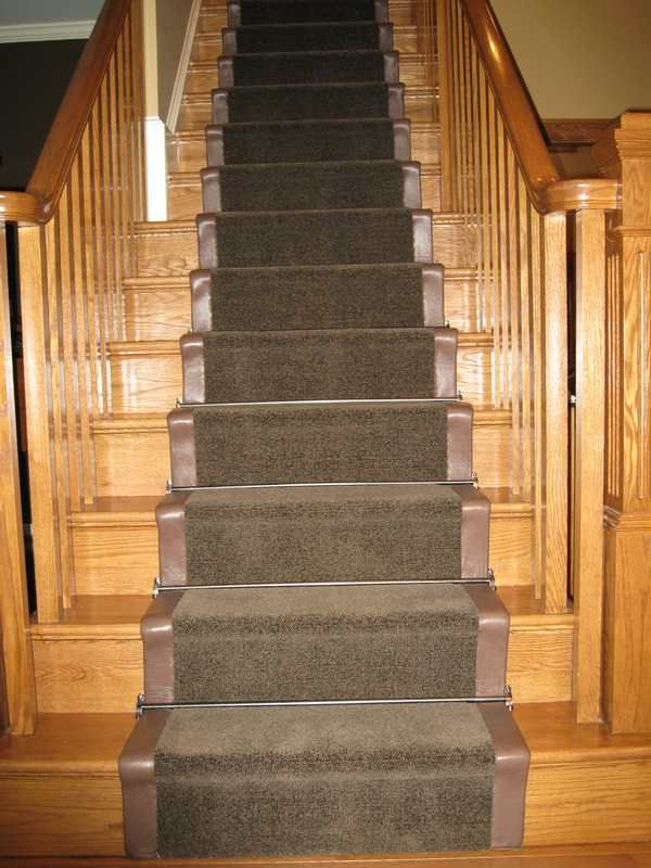 Thick Berber With Wide Leather Binding Stair Runner With Pewter Stair Rods Arlington