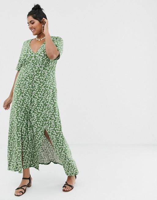 Asos Design Curve Button Through Maxi Tea Dress With Splits In Ditsy Print Asos High Tea Dress Red Tea Dresses Tea Dress
