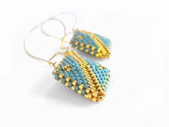 Gold Dangle Earrings Beaded Drop Earrings by BeadworkAndCoe