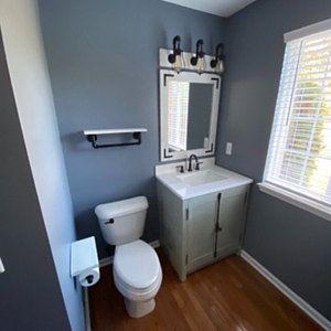Photo of RUSTIC DISTRESSED Bathroom Set, Vanity Mirror with Mason Jar Light Fixture Set, Rustic Bathroom Decor, Handmade Full Bathroom Decor, Lulight