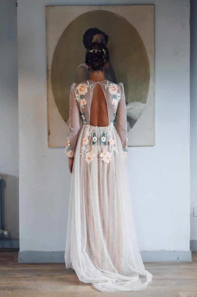 floral embroidered illusion nude tulle long sleeve romantic wedding gown