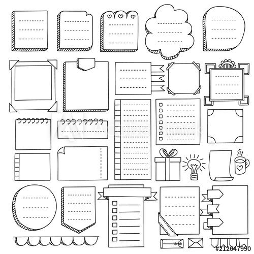 Bullet Journal Hand Drawn Vector Elements For Notebook