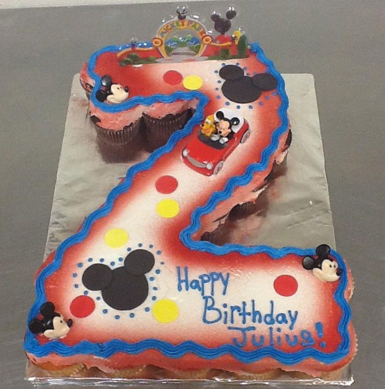 Number 2 Shape Cupcake Cake Mickey Theme