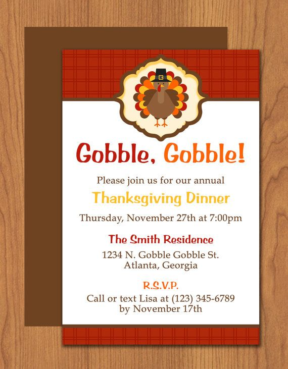Thanksgiving Turkey Dinner Invitation Dinner Invitations - Thanksgiving party invitation templates