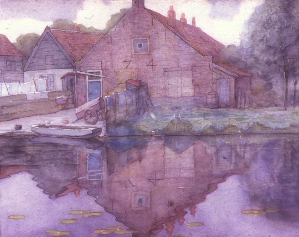 """nemethgyorgy: """" Piet Mondrian (1872-1944): Houses on the Gein (1900) is a good instance of Mondrian's manner and ideas around 1900, when he was twenty-eight and had just started painting landscapes in the surroundings of Amsterdam… Typical of the..."""