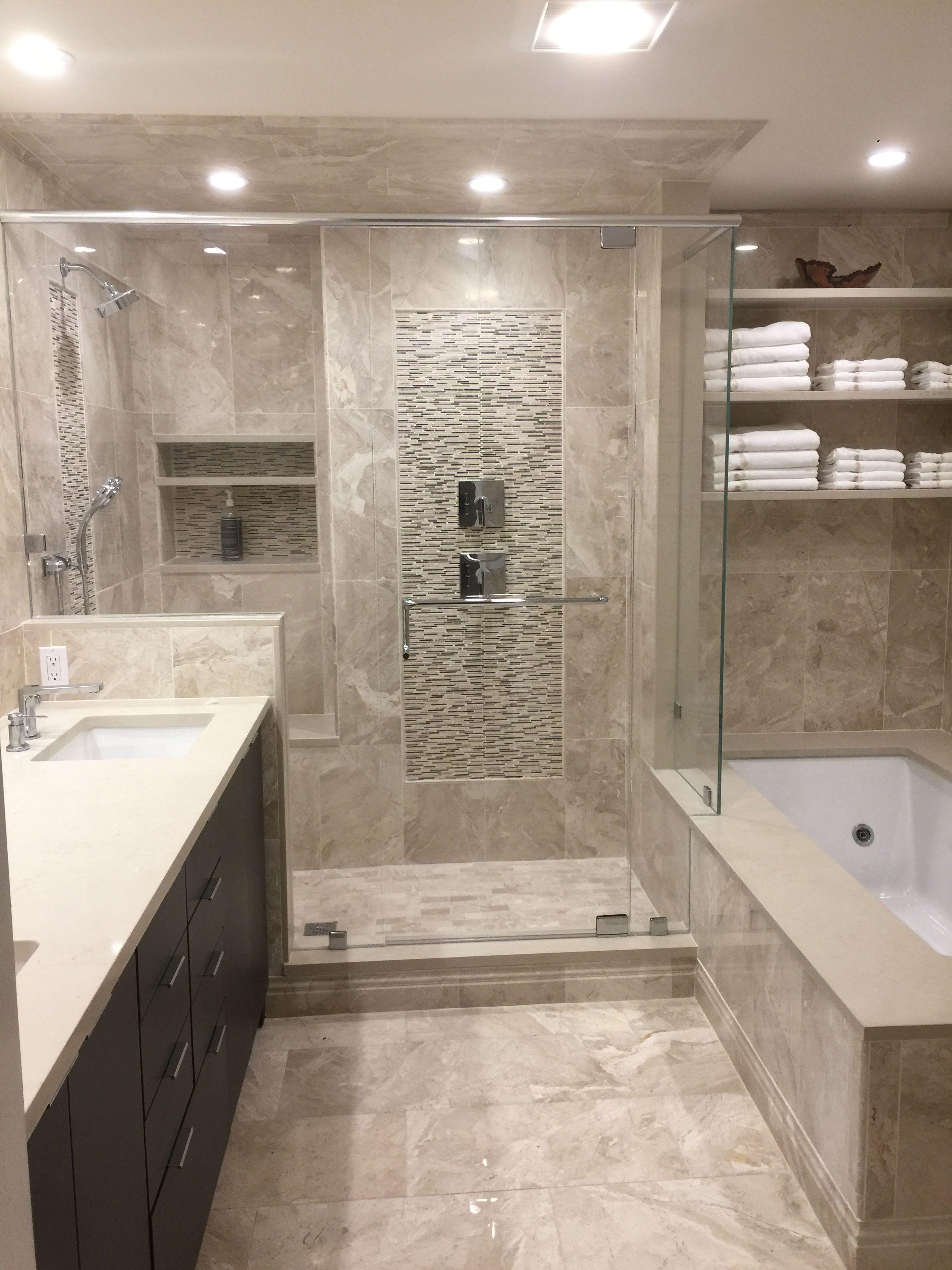 Diana Royale Marble Tile And Cream Of Marfil Quartz Marble Bathroom Beautiful Tile Bathroom Bathroom Design Inspiration