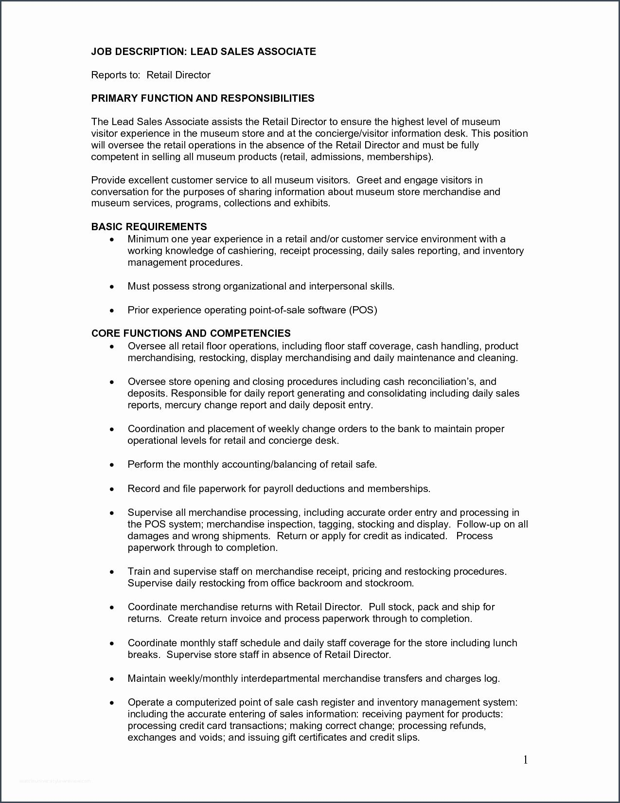 coolsales associate job descriptions for resume