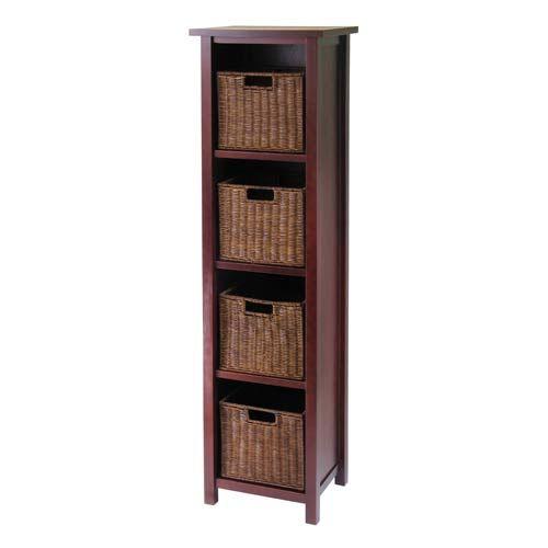 Winsome Wood 4 Tier Tall Storage Shelf With 4 Baskets 94411