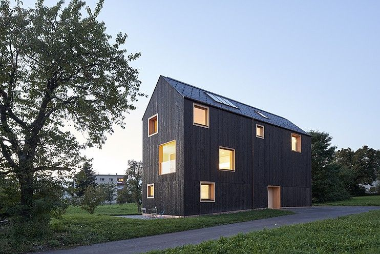 Delightful House Bäumle 2 By Bernardo Bader Architekten, Reinforced Concrete Core In  House, Austria Farmhouse Architecture, Blackened Timber Architecture Design