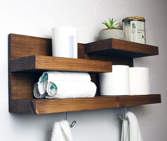 Bathroom Shelf Organizer with Towel Hooks, Farmhouse Country Rustic Storage, Modern Farmhouse, Apartment Decor, Guest Storage