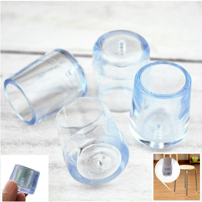 18mm Furniture Legs Rubber Clear Silica Plastic Rubber Floor Protectors  Furniture Table Chair Leg Socks Caps