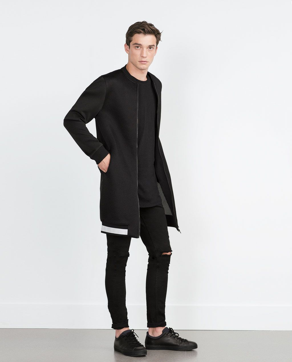 Long Bomber Jacket Jackets Man Collection Aw15 Long Bomber Jacket Bomber Jacket Trench Coat Men [ 1269 x 1024 Pixel ]