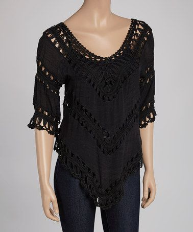 Another great find on #zulily! Black Open-Weave V-Neck Top #zulilyfinds