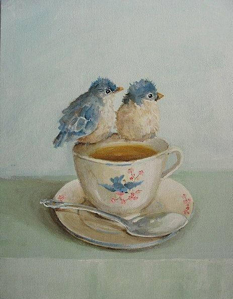 sweet art of two blue birds having tea or coffee or waiting on a muffin