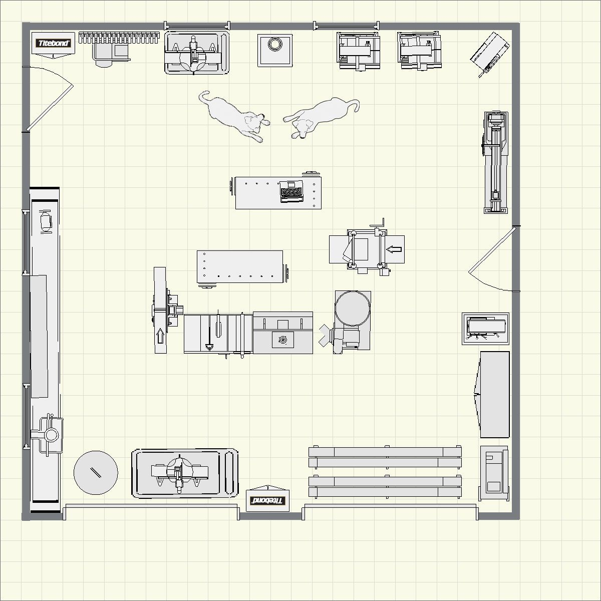 Woodturning workshop layouts yahoo image search for Man cave floor plans