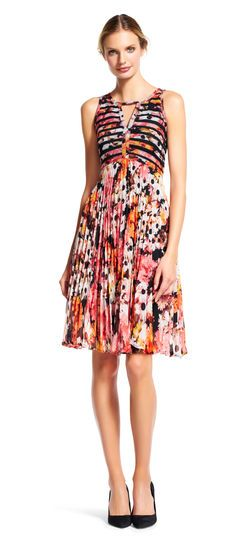 5f2dfc95eca Adrianna Papell daisy print pleated chiffon fit and flare dress