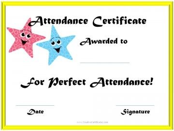 Perfect Attendance Award Certificates Perfect Attendance Certificate Attendance Certificate Perfect Attendance Award