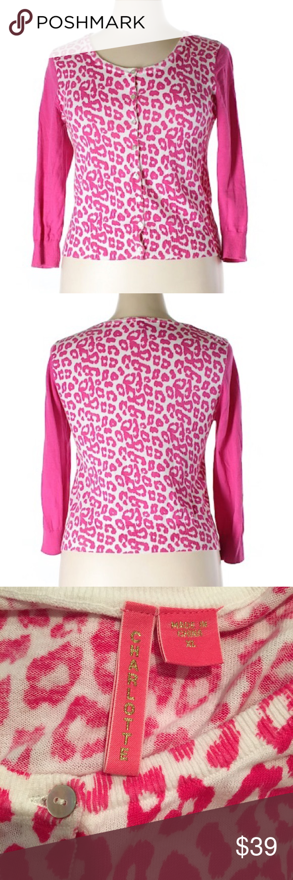 Charlotte Tarantola Pink Leopard Cardigan Size XL | Pink ...