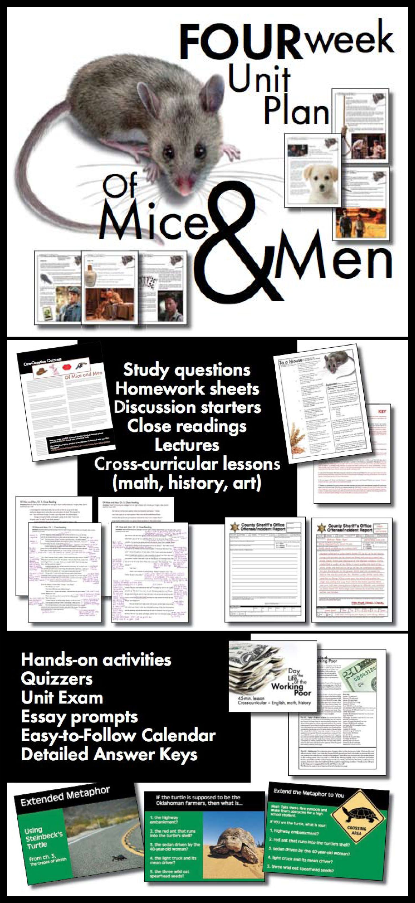 Of Mice and Men Unit Plan, FOUR FULL WEEKS of Dynamic Lessons, CCSS ...