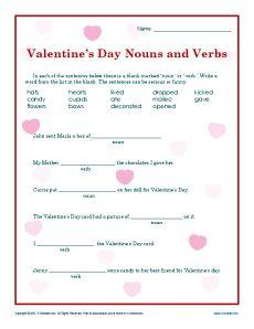 valentine 39 s day nouns and verbs worksheet for 2nd grade worksheets. Black Bedroom Furniture Sets. Home Design Ideas