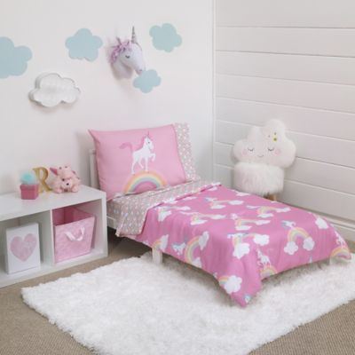 Little Tikes Rainbows And Unicorns 4 Piece Toddler Bedding Set In
