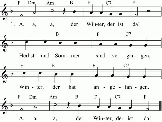 Noten Liedtext Und Midi Mp3 Zum Anhoren Des Lieds A A A Der Winter Der Ist Da Kinder Lied Lied Lieder