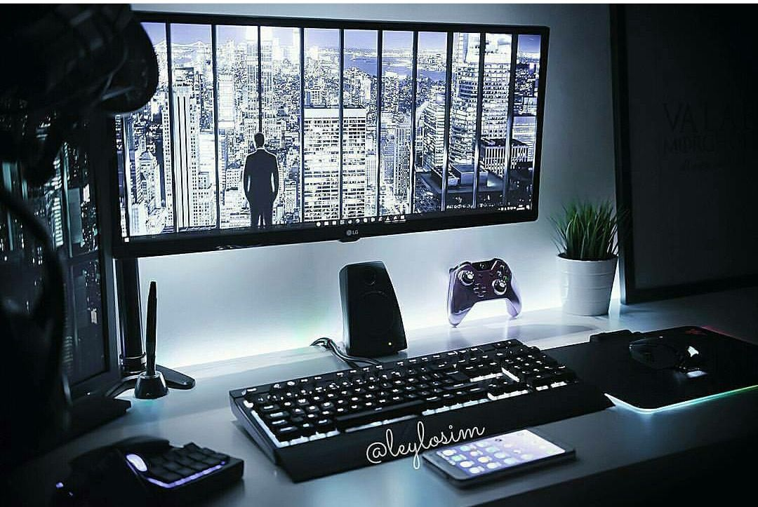 Pin By Icitra On Workspace And Office Gaming Desk Setup