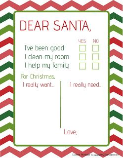 free dear santa letter printable for the younger kids who cant write yet