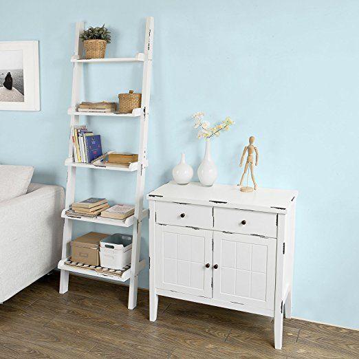 SoBuy® Leiterregal,Bücherregal,Badregal,mit fünf Böden in Weiß, Shabby Chic, B56cm, FRG138-W