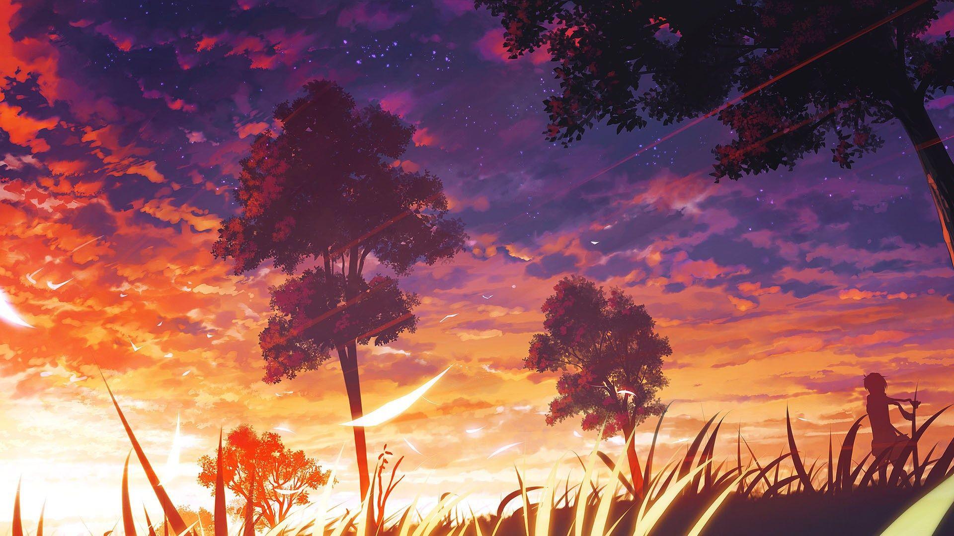 Sunset Scenery Pemandangan Anime Pemandangan Latar Belakang
