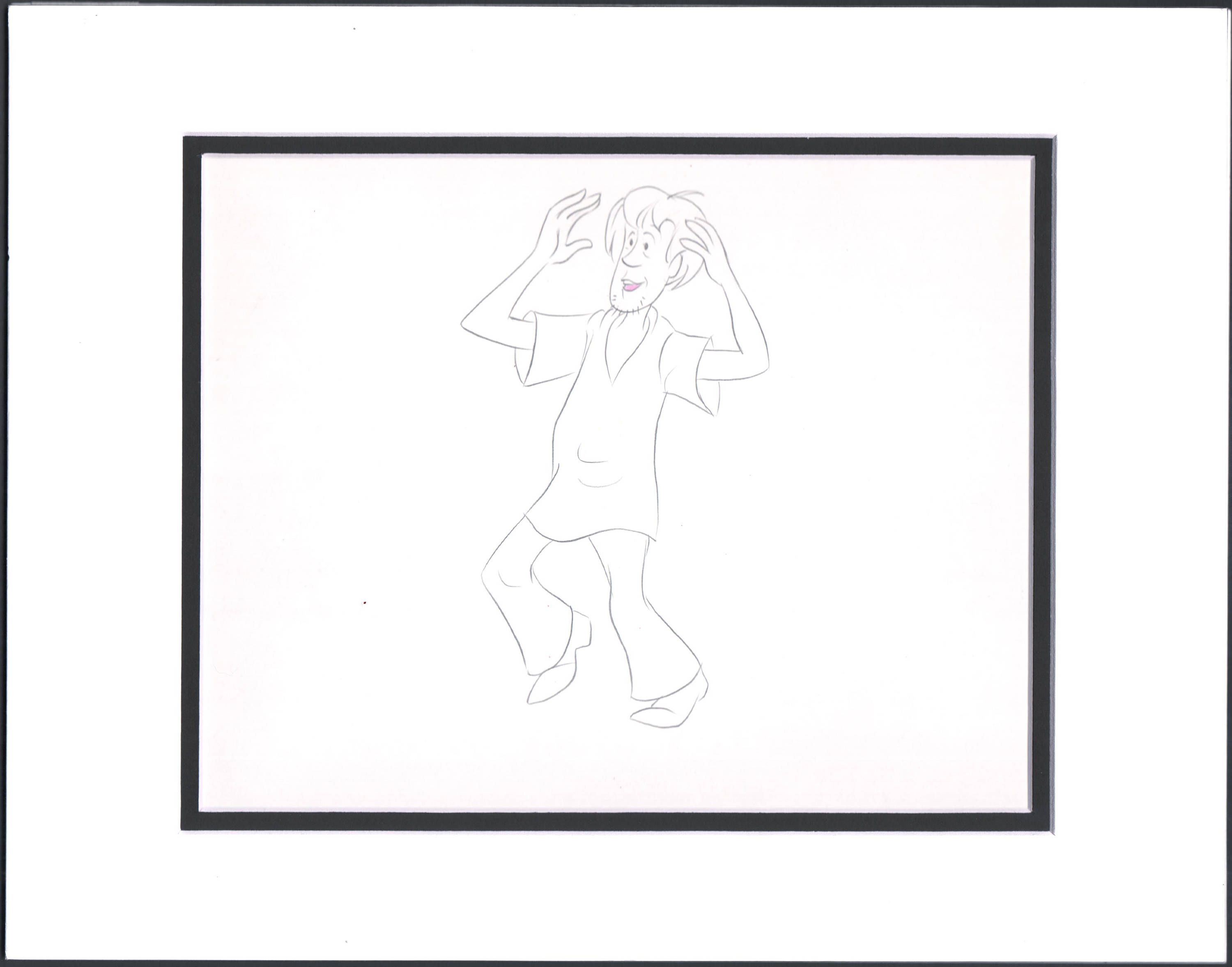 1972-3 Scooby Doo Shaggy Production Animation Cell drawing Hanna Barbera COA 6 by CharlesScottGallery on Etsy